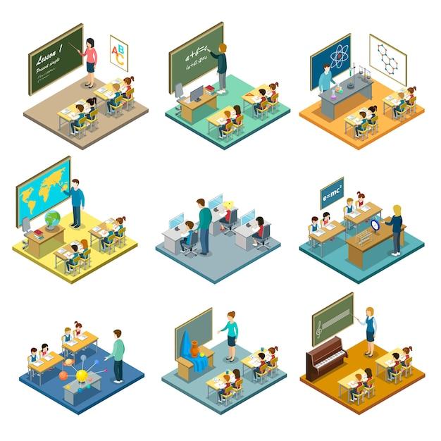 Jeu d'illustration isométrique de l'éducation scolaire Vecteur Premium