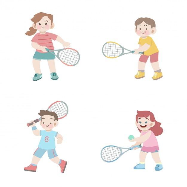 Jeu d'illustration de tennis enfants mignons heureux sport Vecteur Premium