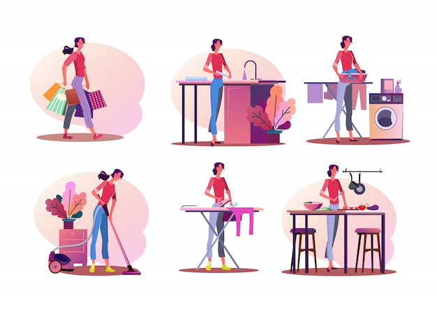 Jeu d'illustration de travaux ménagers Vecteur gratuit