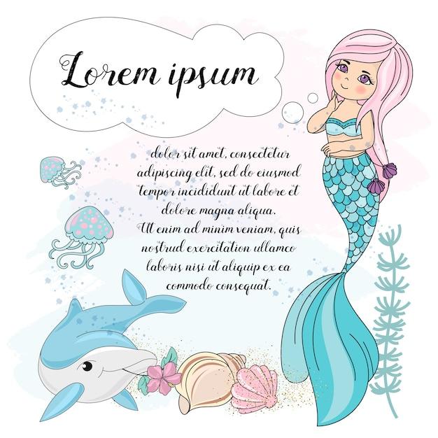 Jeu d'illustration vectorielle sous-marin de mer mermaid dream Vecteur Premium