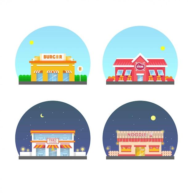Jeu d'illustrations de bâtiment de restaurant. nouilles, hamburger, steak, poulet frit Vecteur Premium