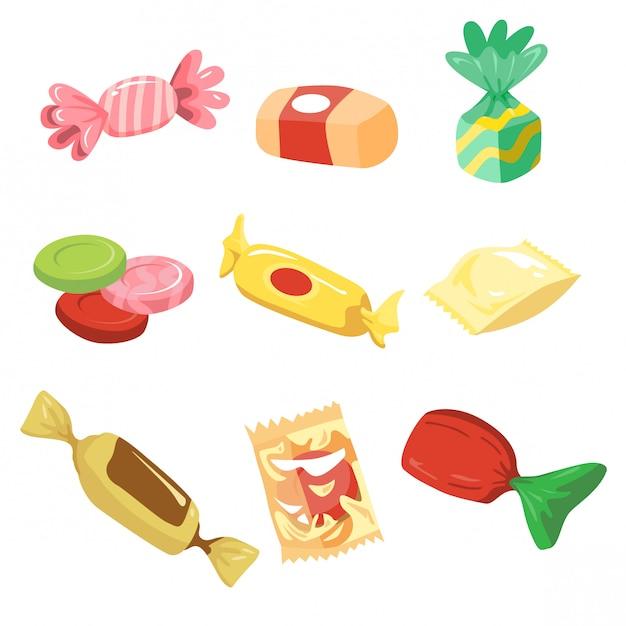 Jeu d'illustrations de bonbons simples Vecteur Premium
