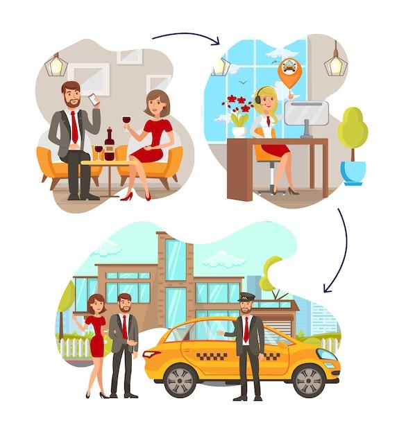 Jeu de illustrations de taxi service steps vector plate Vecteur Premium