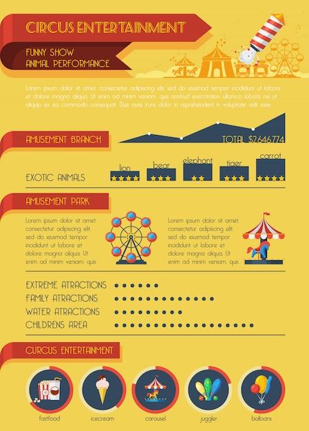 Jeu d'infographie de cirque Vecteur gratuit