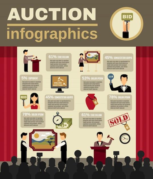 Jeu d'infographie d'enchères Vecteur gratuit