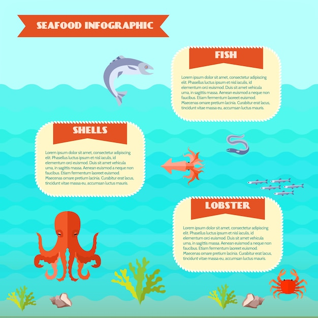 Jeu d'infographie de fruits de mer Vecteur gratuit