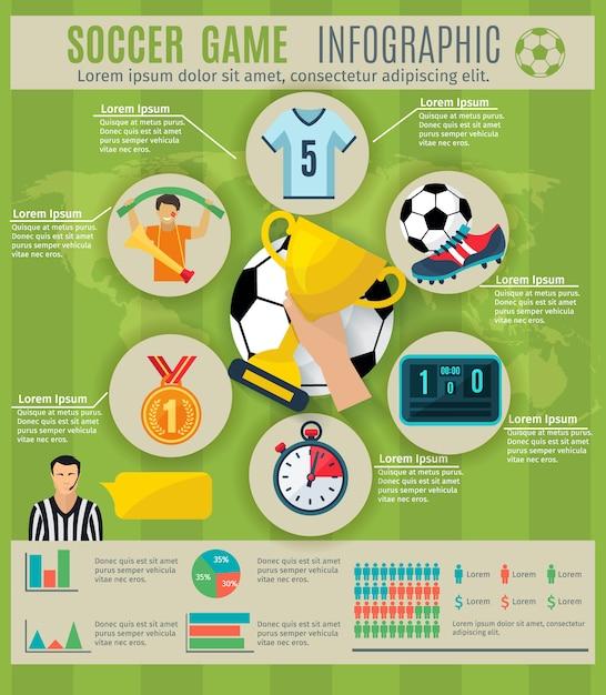 Jeu d'infographie de jeu de football avec symboles et graphiques de trophée de sport Vecteur gratuit