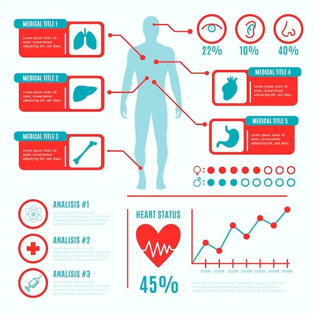 Jeu d'infographie médical coloré Vecteur gratuit