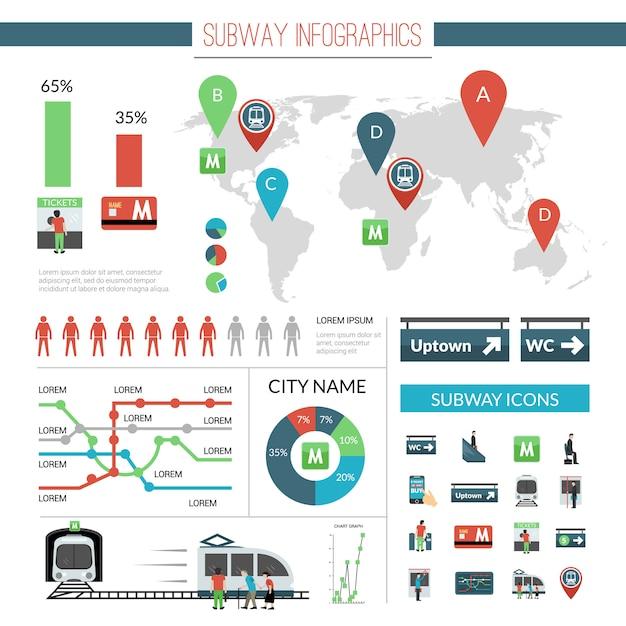 Jeu d'infographie de métro Vecteur gratuit
