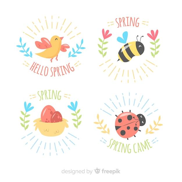 Jeu d'insignes de printemps animaux dessinés à la main Vecteur gratuit