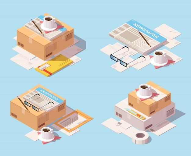 Jeu isométrique d'icône de livraison postale Vecteur Premium