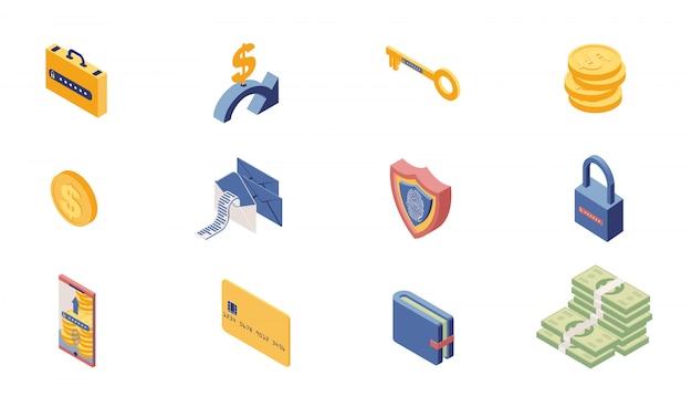 Jeu Isométrique D'icônes D'accès Au Compte Privé Vecteur Premium