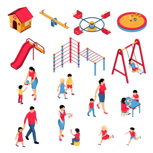 Jeu Isométrique De La Maternelle Avec Les Parents éducateurs Enfants Pendant L'apprentissage Et La Restauration Des éléments De Terrain De Jeu Isolés Vecteur gratuit