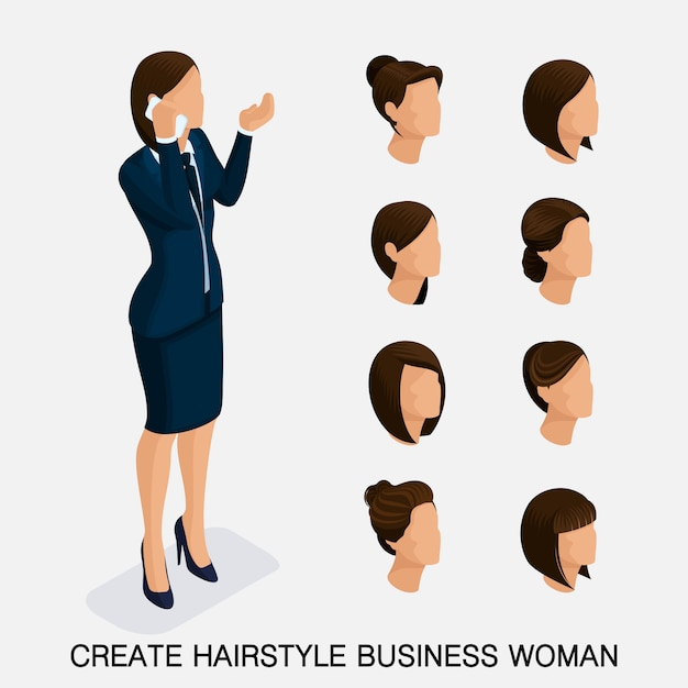 Jeu isométrique tendance 3, coiffures pour femmes. jeune femme d'affaires, coiffure, couleur de cheveux, isolée. créer une image Vecteur Premium