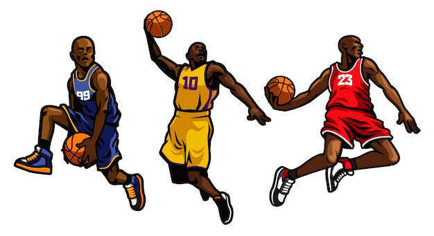 Jeu De Joueur De Basket Vecteur Premium