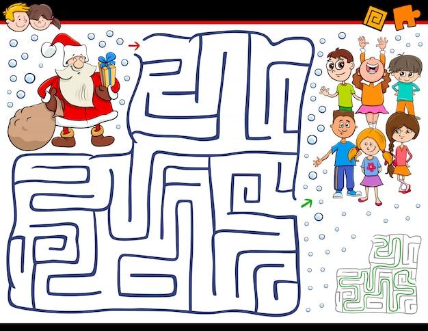 Jeu De Labyrinthe En Bande Dessinée Avec Le Père Noël Vecteur Premium