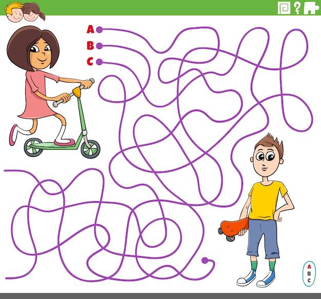 Jeu De Labyrinthe éducatif Avec Dessin Animé Fille Et Garçon Vecteur Premium