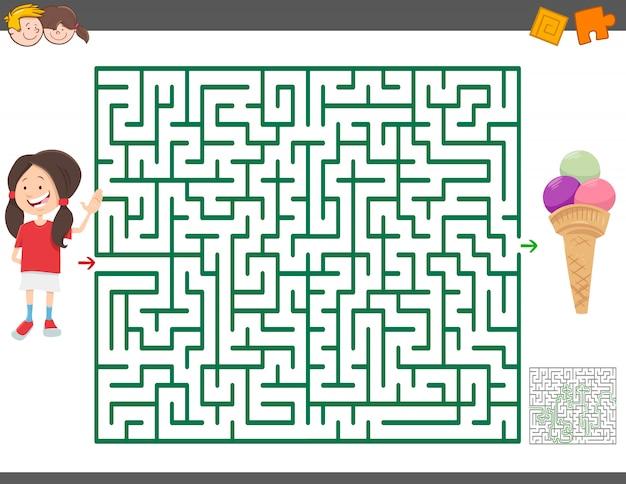 Jeu de labyrinthe avec fille de dessin animé et glace Vecteur Premium