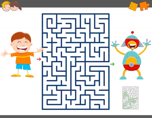 Jeu de labyrinthe avec garçon de dessin animé et robot jouet Vecteur Premium