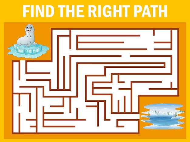 Jeu de labyrinthe: lion de mer à pied Vecteur Premium