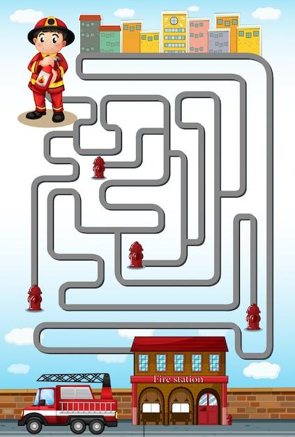 Jeu de labyrinthe avec pompier et station Vecteur gratuit