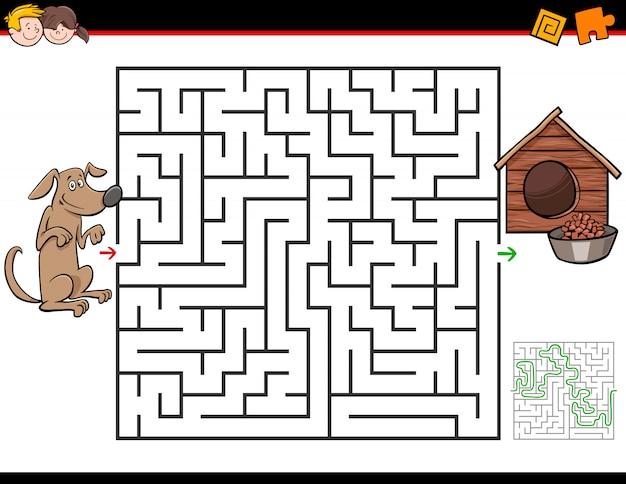 Jeu de labyrinthe pour enfants avec chien et chenil Vecteur Premium