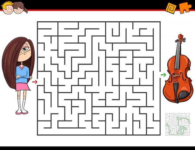 Jeu de labyrinthe pour enfants avec fille et violon Vecteur Premium