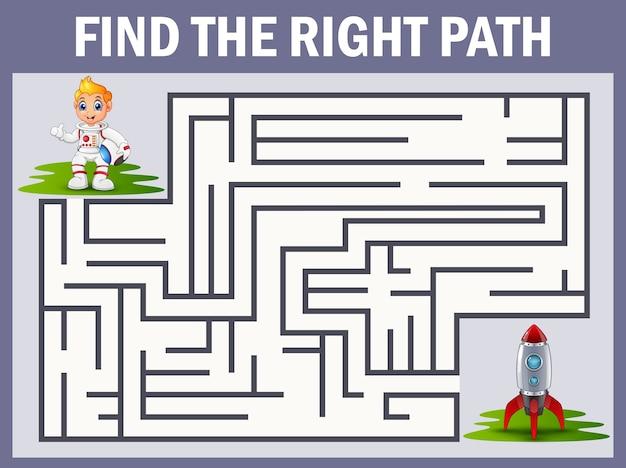 Jeu de labyrinthe trouve le chemin de l'astronaute à la fusée Vecteur Premium