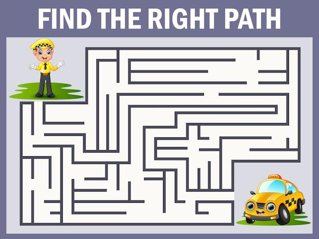 Jeu de labyrinthe trouve le chemin du chauffeur au taxi Vecteur Premium