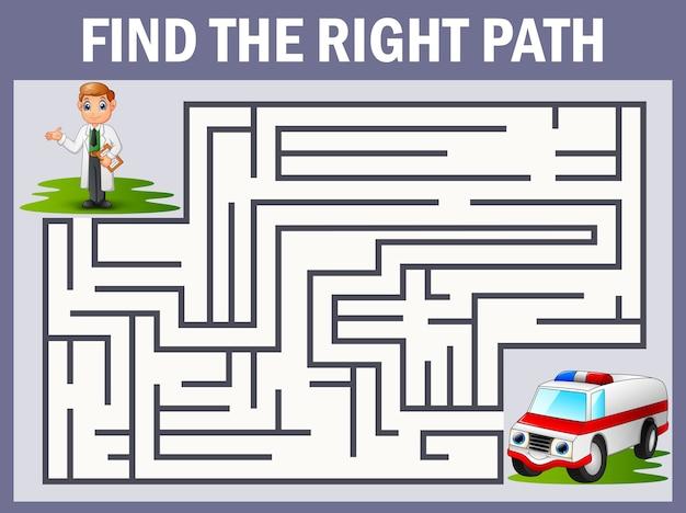 Jeu de labyrinthe trouve le chemin du docteur à l'ambulance Vecteur Premium