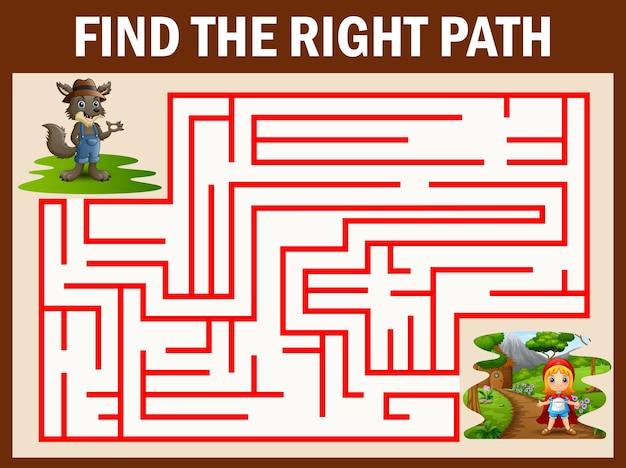 Jeu de labyrinthe trouve le chemin du loup se rendre à la fille rouge à capuchon Vecteur Premium