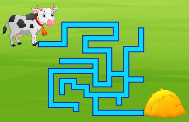 Jeu de labyrinthe de vaches trouver le chemin de la botte de foin Vecteur Premium