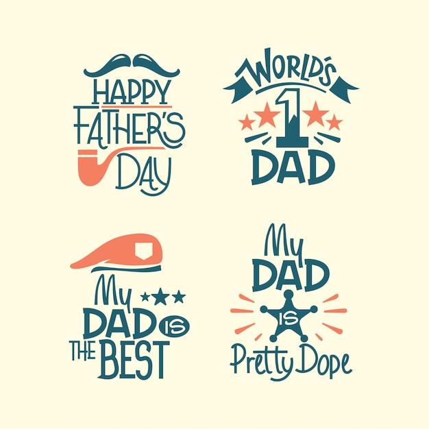 Jeu De Lettrage Happy Fathers Day. Mon Père Est Le Meilleur Vecteur Premium