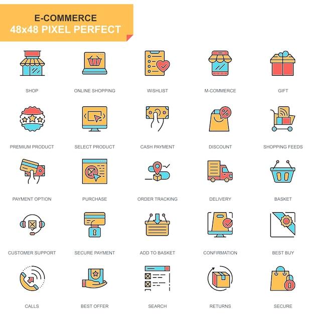 Jeu de ligne plate e-commerce et shopping icônes Vecteur Premium