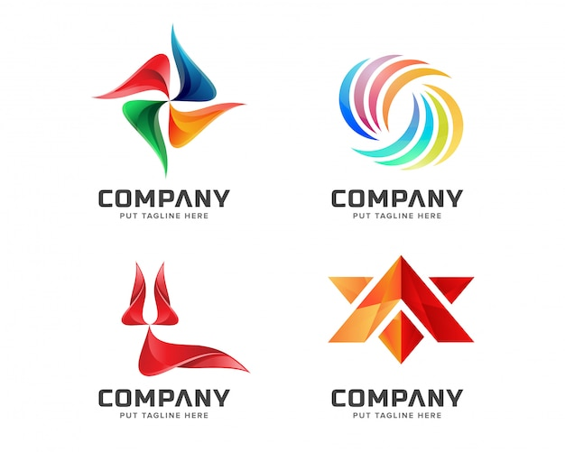 Jeu de logo abstrait créatif Vecteur Premium