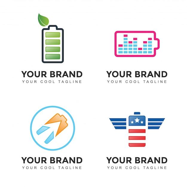 Jeu De Logo De Batterie De Puissance Moderne Vecteur Premium