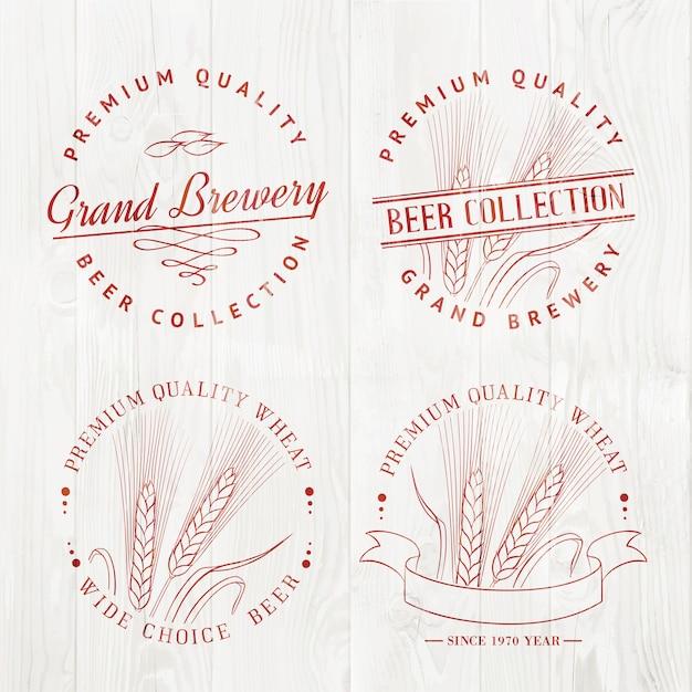 Jeu De Logo De Bière Vecteur gratuit