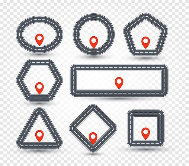 Jeu De Logo Broche Géométrique Isolé, Collection De Panneaux Routiers, Symbole De Localisation Vecteur Premium