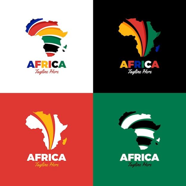 Jeu De Logo Carte Afrique Créative Vecteur Premium