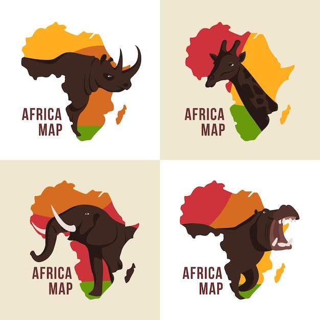 Jeu De Logo De Carte Afrique Vecteur gratuit