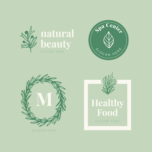 Jeu De Logo De Cosmétiques Nature Vecteur Premium