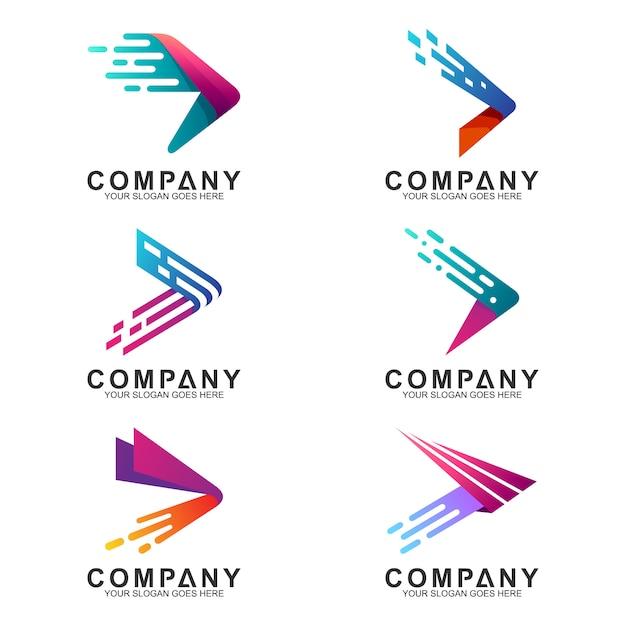 Jeu De Logo De Flèches Rapides En Forme De Mouvement Vecteur Premium