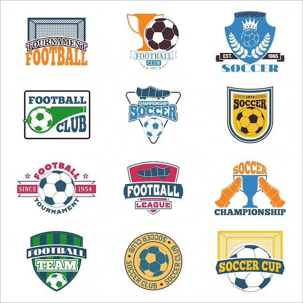Jeu de logo de football. Vecteur Premium