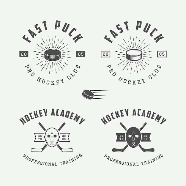 Jeu de logo de hockey Vecteur Premium