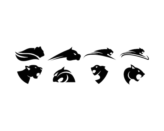 Jeu de logo léopard Vecteur Premium