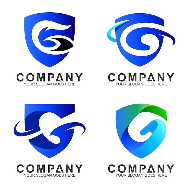 Jeu de logo de la lettre g de bouclier Vecteur Premium