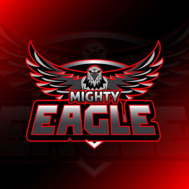 Jeu De Logo Mighty Eagle Esport Vecteur Premium