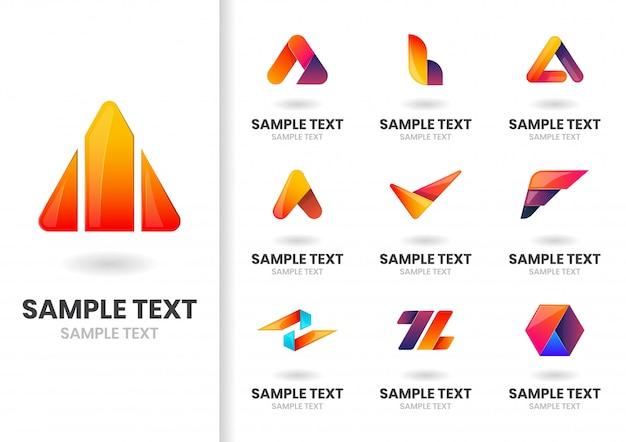 Jeu de logo moderne Vecteur Premium