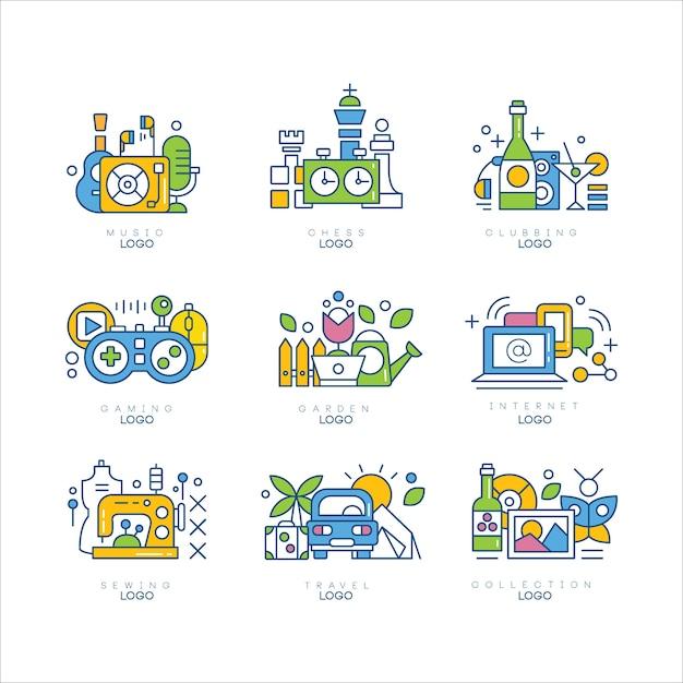 Jeu De Logo, Musique, échecs, Clubbing, Jeux, Jardin, Internet, Couture, Voyage, étiquettes Créativité Science Et Illustrations Artistiques Sur Fond Blanc Vecteur Premium