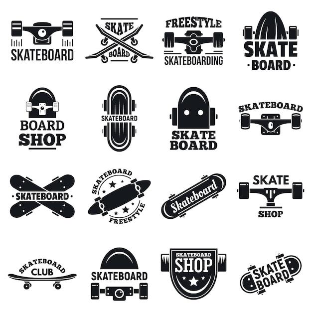 Jeu de logo de planche à roulettes Vecteur Premium